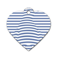 Animals Illusion Penguin Line Blue White Dog Tag Heart (one Side) by Mariart