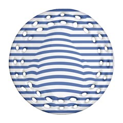 Animals Illusion Penguin Line Blue White Ornament (round Filigree) by Mariart