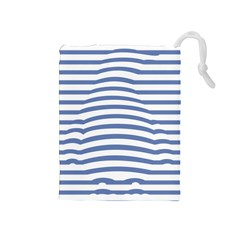 Animals Illusion Penguin Line Blue White Drawstring Pouches (medium)  by Mariart