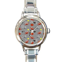 Balltiled Grey Ball Tennis Football Basketball Billiards Round Italian Charm Watch by Mariart