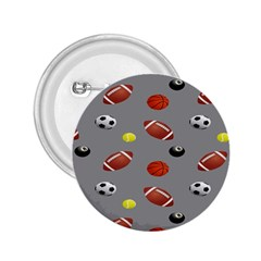 Balltiled Grey Ball Tennis Football Basketball Billiards 2 25  Buttons by Mariart