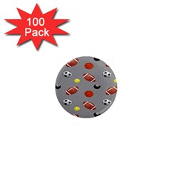Balltiled Grey Ball Tennis Football Basketball Billiards 1  Mini Magnets (100 Pack)  by Mariart