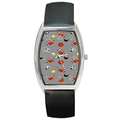 Balltiled Grey Ball Tennis Football Basketball Billiards Barrel Style Metal Watch by Mariart