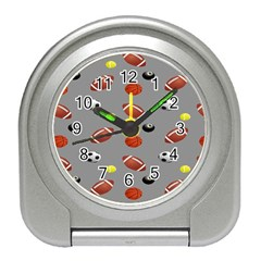 Balltiled Grey Ball Tennis Football Basketball Billiards Travel Alarm Clocks by Mariart