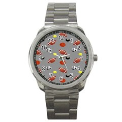 Balltiled Grey Ball Tennis Football Basketball Billiards Sport Metal Watch by Mariart