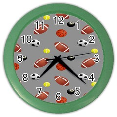 Balltiled Grey Ball Tennis Football Basketball Billiards Color Wall Clocks by Mariart