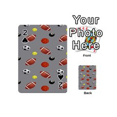 Balltiled Grey Ball Tennis Football Basketball Billiards Playing Cards 54 (mini)  by Mariart