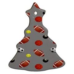 Balltiled Grey Ball Tennis Football Basketball Billiards Christmas Tree Ornament (two Sides) by Mariart