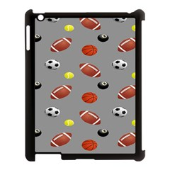 Balltiled Grey Ball Tennis Football Basketball Billiards Apple Ipad 3/4 Case (black) by Mariart