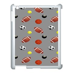 Balltiled Grey Ball Tennis Football Basketball Billiards Apple Ipad 3/4 Case (white) by Mariart