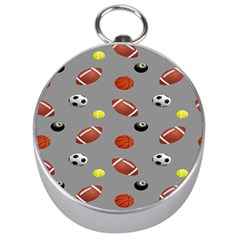 Balltiled Grey Ball Tennis Football Basketball Billiards Silver Compasses by Mariart