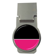 Black Pink Line White Money Clips (round)  by Mariart