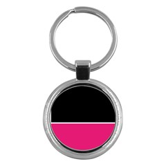 Black Pink Line White Key Chains (round)  by Mariart