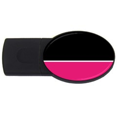 Black Pink Line White Usb Flash Drive Oval (2 Gb) by Mariart