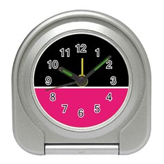 Black Pink Line White Travel Alarm Clocks by Mariart