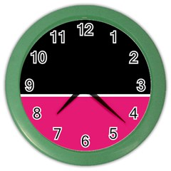Black Pink Line White Color Wall Clocks by Mariart
