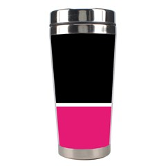 Black Pink Line White Stainless Steel Travel Tumblers by Mariart