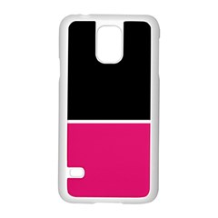 Black Pink Line White Samsung Galaxy S5 Case (white) by Mariart