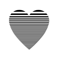Black White Line Heart Magnet by Mariart