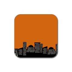 City Building Orange Rubber Square Coaster (4 Pack)  by Mariart