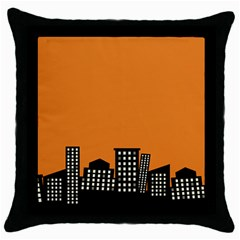 City Building Orange Throw Pillow Case (black) by Mariart