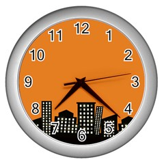 City Building Orange Wall Clocks (silver)  by Mariart