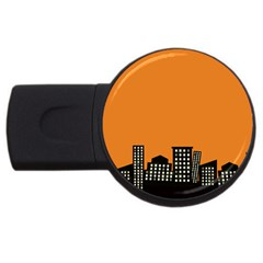 City Building Orange Usb Flash Drive Round (4 Gb) by Mariart