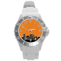 City Building Orange Round Plastic Sport Watch (l) by Mariart