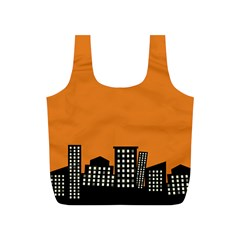 City Building Orange Full Print Recycle Bags (s)  by Mariart