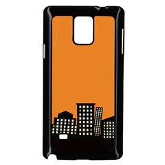 City Building Orange Samsung Galaxy Note 4 Case (black) by Mariart