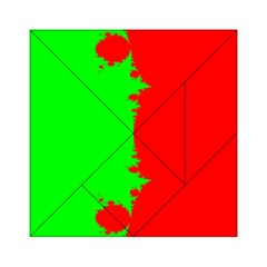 Critical Points Line Circle Red Green Acrylic Tangram Puzzle (6  X 6 ) by Mariart