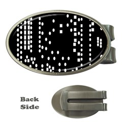 Circle Plaid Black White Money Clips (oval)  by Mariart
