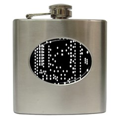 Circle Plaid Black White Hip Flask (6 Oz) by Mariart