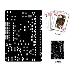 Circle Plaid Black White Playing Card by Mariart