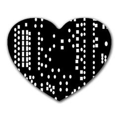 Circle Plaid Black White Heart Mousepads by Mariart