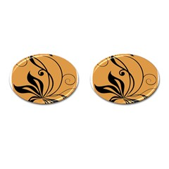 Black Brown Floral Symbol Cufflinks (oval) by Mariart