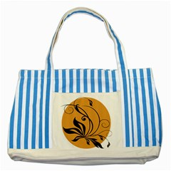 Black Brown Floral Symbol Striped Blue Tote Bag by Mariart