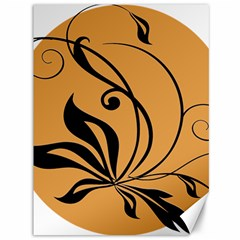Black Brown Floral Symbol Canvas 36  X 48   by Mariart