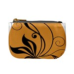 Black Brown Floral Symbol Mini Coin Purses Front