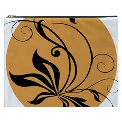 Black Brown Floral Symbol Cosmetic Bag (xxxl)  by Mariart