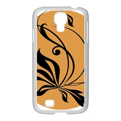 Black Brown Floral Symbol Samsung Galaxy S4 I9500/ I9505 Case (white) by Mariart