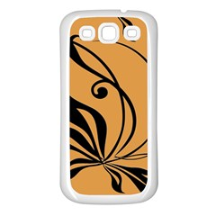 Black Brown Floral Symbol Samsung Galaxy S3 Back Case (white) by Mariart