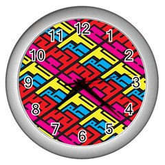 Color Red Yellow Blue Graffiti Wall Clocks (silver)  by Mariart