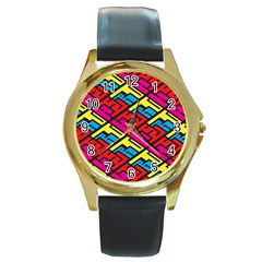 Color Red Yellow Blue Graffiti Round Gold Metal Watch by Mariart