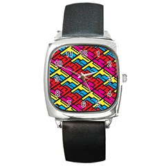 Color Red Yellow Blue Graffiti Square Metal Watch by Mariart