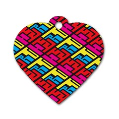 Color Red Yellow Blue Graffiti Dog Tag Heart (two Sides) by Mariart