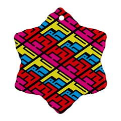 Color Red Yellow Blue Graffiti Snowflake Ornament (two Sides) by Mariart