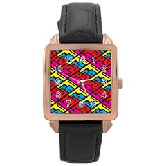 Color Red Yellow Blue Graffiti Rose Gold Leather Watch  by Mariart