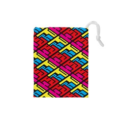 Color Red Yellow Blue Graffiti Drawstring Pouches (small)  by Mariart