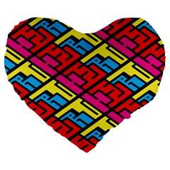 Color Red Yellow Blue Graffiti Large 19  Premium Flano Heart Shape Cushions